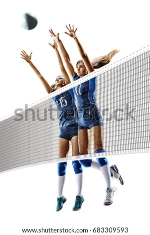 Female professional volleyball players isolated on white
