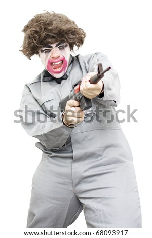 Female Psycho Killer Going Berserk Screaming Out While Firing Off Rounds From A Machine Gun ? Isolated On A White Background