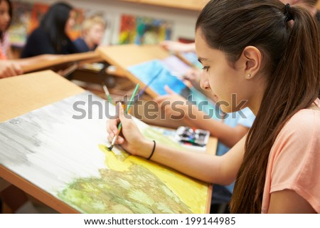 Female Pupil In High School Art Class #199144985