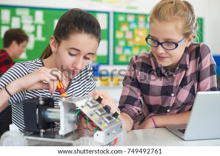 Female Pupils In Science Lesson Studying Robotics #749492761