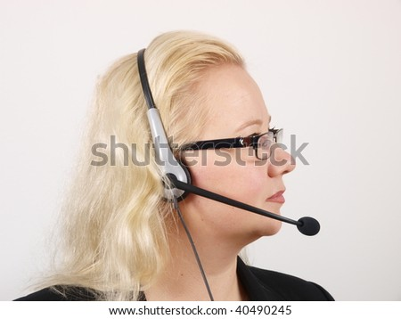 Female Receptionist with headset. Close up