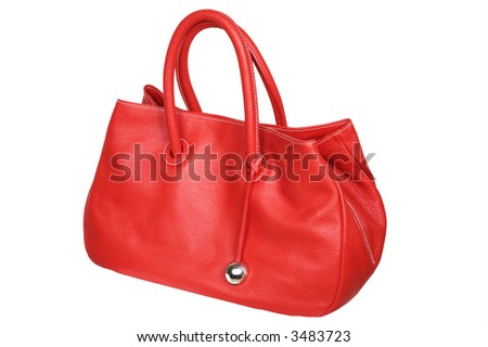 Female red bag on a white background