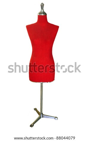 female red mannequin isolated on white