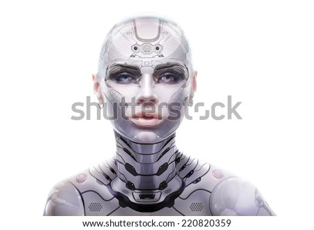 Stock Photo Female robot portrait. Cyber-girl looking into the camera