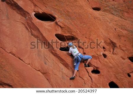 Female Rock Climber at Garden of the Gods