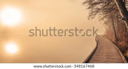 Female runner jogging in the morning fog at lake Bled