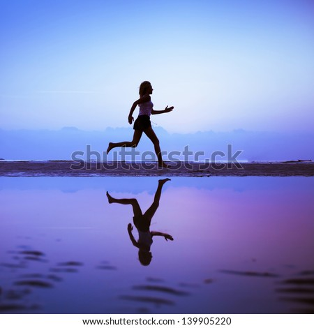 Female runner silhouette is mirrored below with a blue sunset sky as background