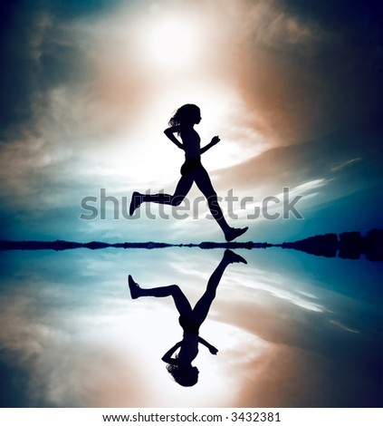 Female runner silhouette is mirrored below with a soft pastel sunset sky as backdrop