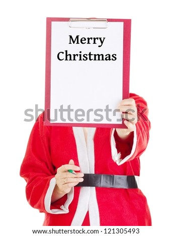 Female santa showing something on clipboard