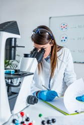 Female scientist researching samples in laboratory