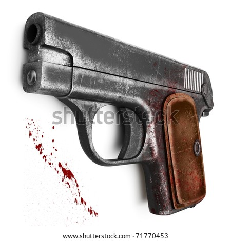 Female scratched Colt pistol, isolated on a white background