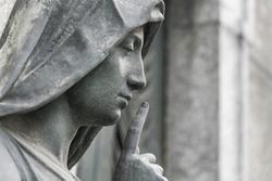 Female sculpture, Italy, close-up