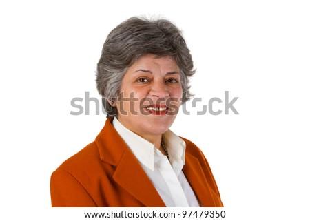 Female senior businesswoman - isolated on white background