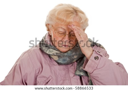 Female senior with coat- got a bad cold-isolated on white background