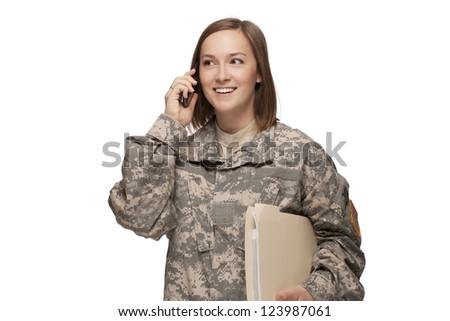 Female Serviceman on the phone