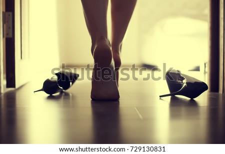 Female sexy leg walking in bedroom  #729130831