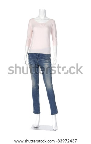 female shirt in jeans on mannequin isolated