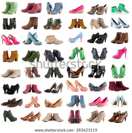 female shoes over white. shoes collection on white background #283623119