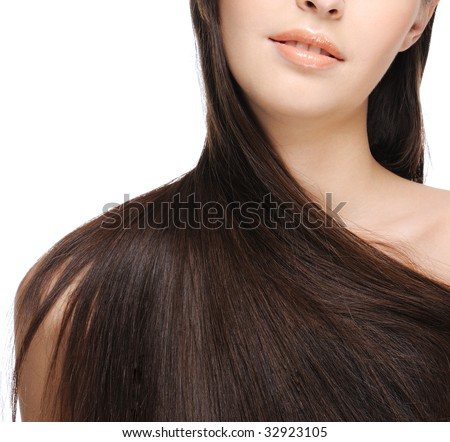 female shoulder with beautiful long hair