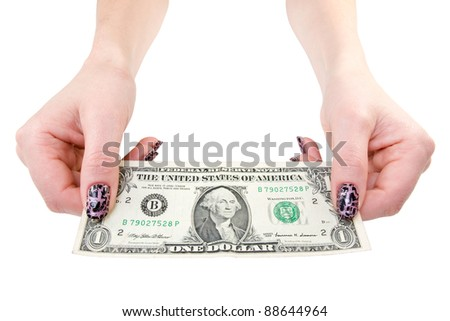 female showing one dollar bill. isolated over a white background