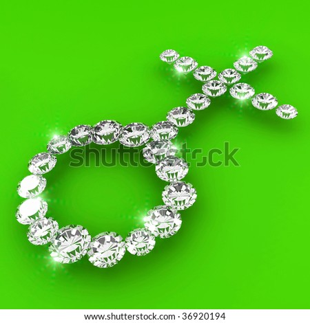 Female sign shape 3d diamond art illustration
