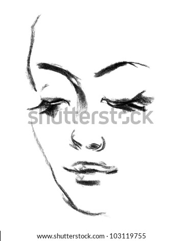 Female silhouette. Portrait of beautiful girl. Hand-drawn. Drawing in pencil
