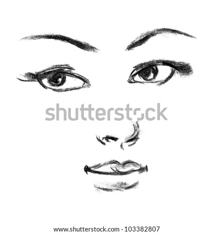 Female silhouette. Portrait of beautiful girl. Hand-drawn. Drawing in