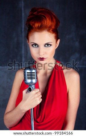 Female singer red dress; vintage photo