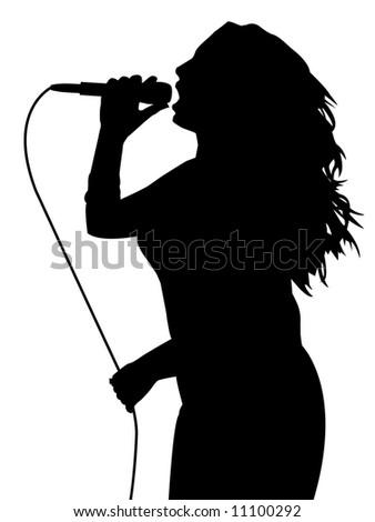 Female singing - stock photo