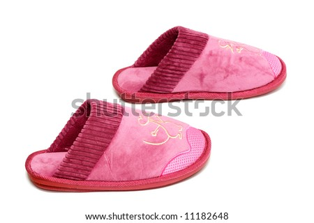 Female slippers isolated on a white background
