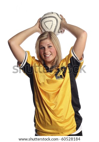 Female Soccer player on white background