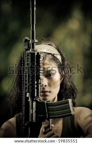 Stock Photo female soldier expression