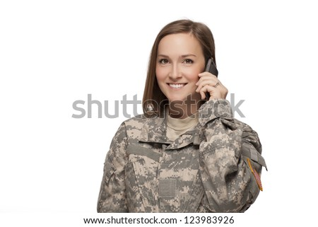 Female Soldier on her cell phone
