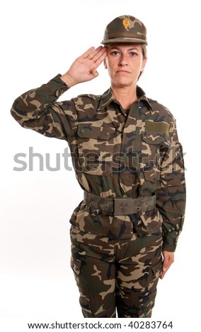 Female soldier saluting against a white background
