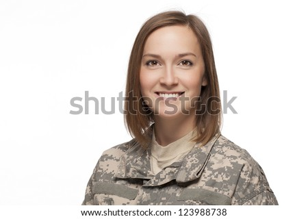 Female soldier smiling