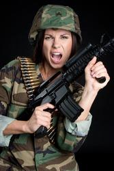 Female Soldier with Gun