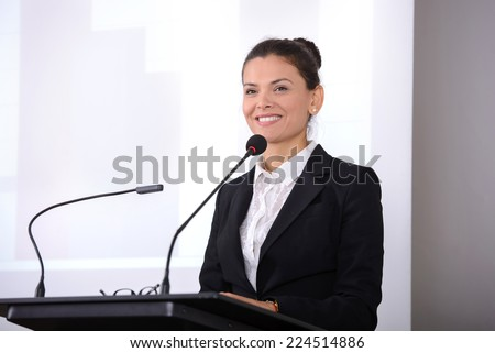 Female speaker at the board. Business conference #224514886