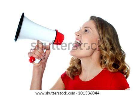 Female spokesperson holding megaphone isolated over white