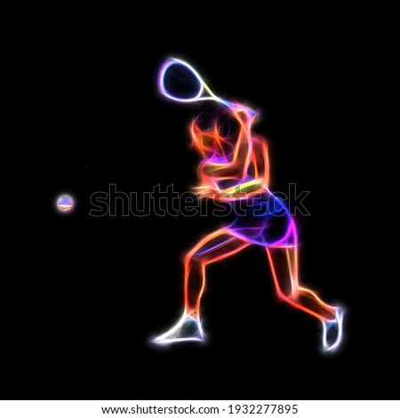 Female Squash Player Neon Glow Illustration Clipart Сток-фото ©