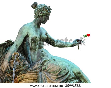Female statue holding a rose in hand. Fragment of a monumental fountain of 1889-90. Anger, Erfurt, Germany. Isolated on white, copy space.