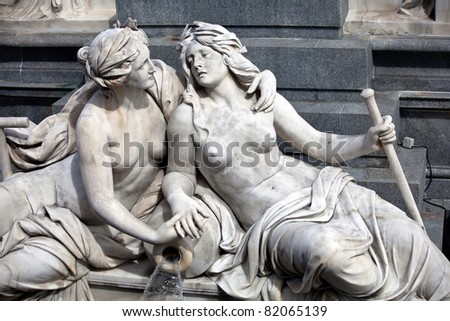 Female statues in the The Athena Fountain (Pallas-Athene-Brunnen) situated in front of the building of Austrian Parliament.