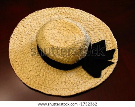 female straw hat - stock photo