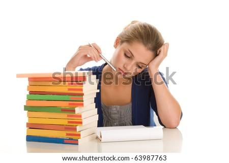 Female student behind desk