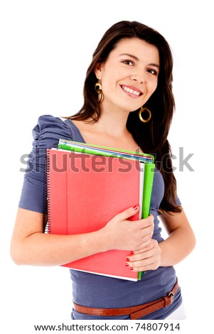 Female student holding notebooks - isolated over white - stock photo