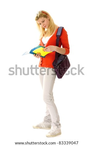 Female student isolated on white background