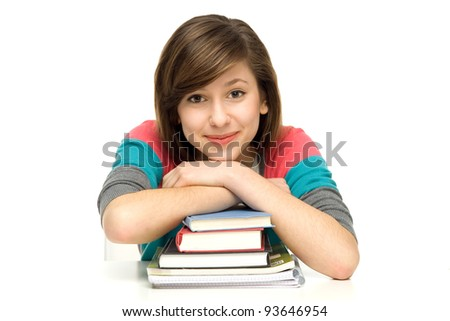 Female student leaning on books