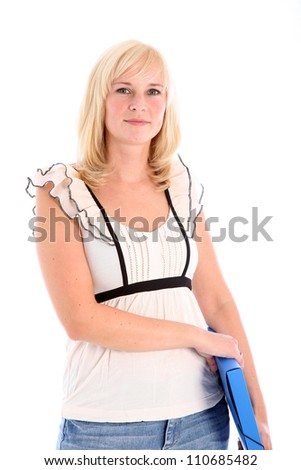 Female student or office worker with file Pretty young blonde female student or office worker dressed in smart casual clothing holding a blue file under her arm