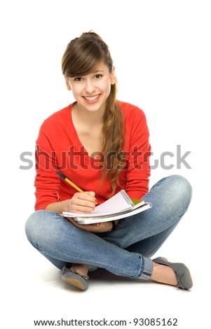 Female student sitting