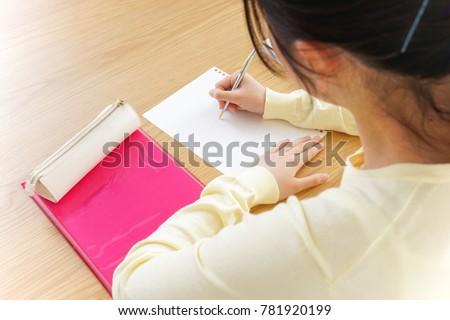 Female student studying in cram school