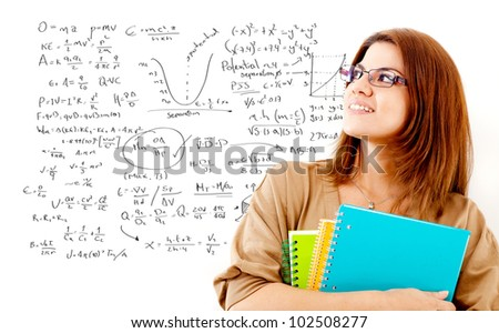 Female student studying maths thinking about formulas